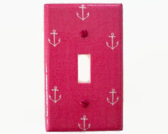 Anchor Switch Plate Cover - Nautical Light Switch Cover - Pink Nautical Nursery Decor - Girls Light Switch Cover - Pink Nautical Nursery