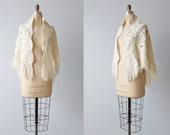 Vintage White Crochet Shawl Wrap / Fringe / Bridal Shawl Wrap / Buttercream