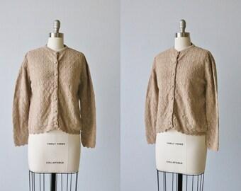 Vintage Beige Pointelle Cardigan Granny Sweater / 1960s Cardigan Sweater / Cardigan Sweater