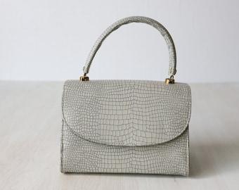 Vintage 1960s Gray Embossed Vinyl Purse / Top Handle Handbag
