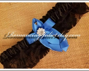 Lovely Vintage Style Black Lace Garter with Vibrant Rhinestone Accents...You Choose the Bow Color...shown in royal blue