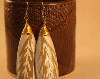 Silver and Gold Papercut Leaf Earrings