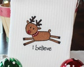 I believe Reindeer Christmas Embroidered Kitchen Towel