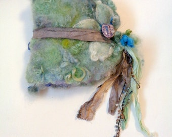 felted wool journal art book  - enchanted forest art diary - misty dream flower fantasy journal