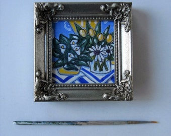 Acrylic Still life painting on canvas, silver frame, miniature painting, Daisies, Yellow tulips, Calla lilies, Country Decor, gift idea