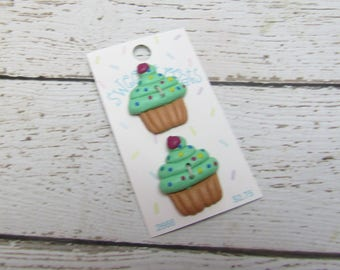 Green Cupcake Sweet Treats Buttons