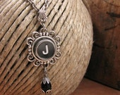 Typewriter Key Jewelry - Personalized Jewelry - Black Initial J Typewriter Key Necklace - Gift for Woman - Type Key Necklace