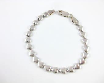 Vintage Sterling Silver Heart Bracelet Made in Italy