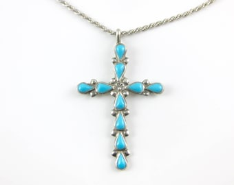 Vintage Sterling Silver Turquoise Cross Pendant with 20 Inch Sterling Silver Necklace