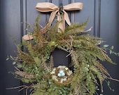 Fern Wreaths, Natural Looking Wreaths, Nature Wreaths, SPRING/SUMMER Wreaths, SPRING Wreaths, Spring Fern and Burlap, Year Round Wreath