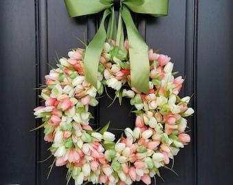 Tulips, Front Door Wreath, Door Wreaths, Spring Tulips, Mother's Day Wreath, Easter Wreaths, Easter Tulips, Trending Wreaths