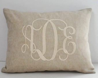 Monogrammed Lumbar Pillow INSERT INCLUDED Natural Decorator Cotton Linen Weave  Shower Gift Wedding Gift Birthday Gift