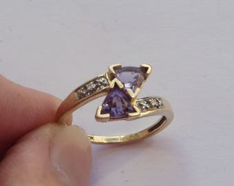 Unusual Trillion Amethyst Ring, solid 10K Y Gold, diamond accents, size 7, free US first class shipping on vintage items
