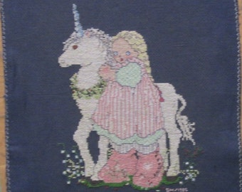 Cross Stitch Unicorn Counted Cross Stitched Embroidery Fantasy Completed Finished Kitsch Blue Pastel Baby Nursery Girl Wall Decor Pillow Top