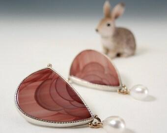 Jasper Earrings, Pearl Drops, Imperial Jasper, Post Earrings, Sterling Silver, 14kt Gold, Terra Cotta