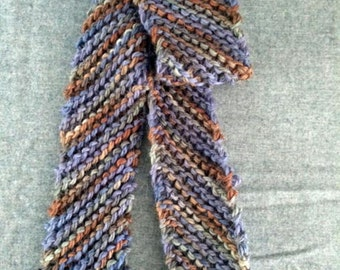 Men's Or Women's Scarf, Merino Wool, Hand Knit. Fall Colors of Rust, Brown, and Blue