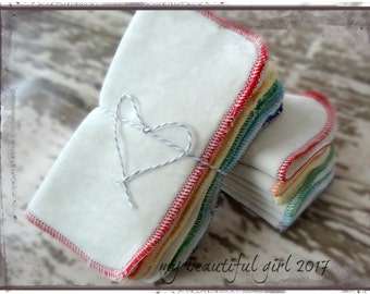 8x8 Organic Cloth Wipes - 2 ply Bamboo Velour/Sherpa, rainbow, MBG  cloth diapering, bathtime travel, diaper bag fitted, family cloth toilet