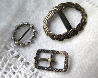 Antique Doll Buckles Set of Three Assorted Victorian Silvertone Cut Steel