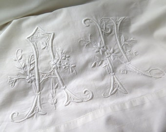 Antique French Pillowcase Layover in Metis Linen/Cotton Monogrammed AH in White with Hand Crocheted Lace Border