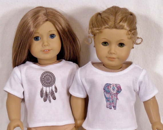 18 inch Doll Short Sleeved White Tee W/DreamCatcher or Elephant Design