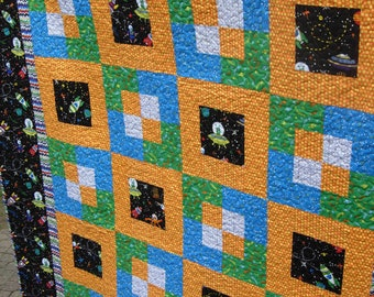 Blast Off Twin Bed Boy Quilt, Little Rocket Man Space Quilt, Toddler Boy Quilt, Boy Quilt, Twin Size Quilt