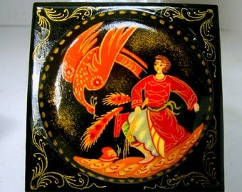 Russian Lacquer Box, 1980s Handpainted Firebird Fairy Tale, Cyrillic Signed, Palakh Style, Hinged Papier Mache