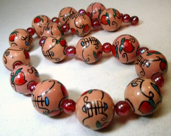 Chinese Happiness and Fortune in Peach n Red Porcelain n Glass Bead Necklace,  12mm, OOAK Rachelle Starr 1990s