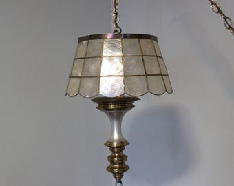 Vintage Swag Lamp w/ Capiz Shell Shade