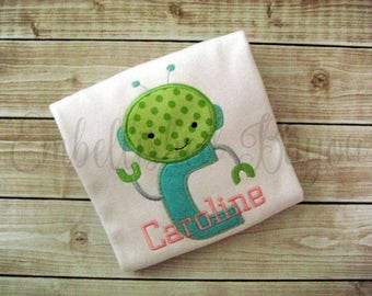 Robot Applique Initial Personalized T-shirt for Girls or Boys
