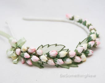Flower Girl Headband of Vintage Yellow and Pink Rose Buds and Green Leaves, Wedding Flower Crown Festival Headband Photo Prop Hair Accessory