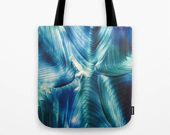 Burnished Frost Custom Tote Bag / Teal, Blue / Encaustic Art on Tote / Book Tote / Market Tote / Available in 3 Sizes / Made to Order