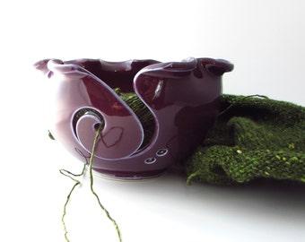 Handmade Pottery Knitting Bowl // Yarn Bowl in Aubergine