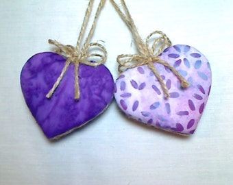 Purple/Lavender Batik Heart Ornaments | Birthday | Party Favors | Wedding/Bridal | Tree Ornament | Valentine's Day |Handmade Gift |Set/2  #1