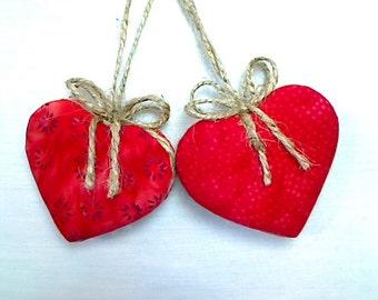 Batik Red Heart Ornaments | Home Decor | Holidays | Valentines Day | Wedding/Bridal Party Favors |Tree Ornament | Handmade Gift | Set/2 | #2