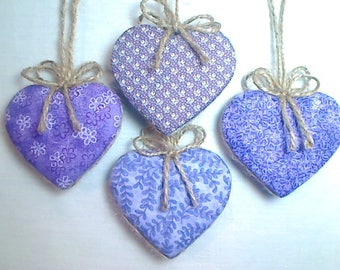 Purple/Lavender Heart Ornaments | Bridal/Wedding | Party Favors | Valentine's Day | Holidays | Tree Ornament | Handmade Gift |  Set/4 | #2