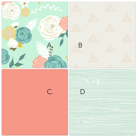 Baby Girl Crib Bedding Set Bumperless Set Coral Mint And Gold