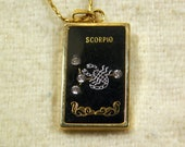 Vintage Scorpio Astrological Sign Pendant 12 Inch Necklace, Black, Rhinestone, Gold Plated, Celestial, 1980s Fashion,Costume Jewelry