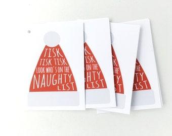 Christmas Gift Tags, Santa Tags, Cheeky Holiday Favour Tags, Naughty Xmas Tags for Christmas Party, Funny Christmas Labels, Naughty or Nice