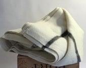RESERVED for Charleston Vintage All Virgin Wool Blanket Off White Ivory Beige Cream Warm Heavy Gentle Soft Bedding made in Canada black grey