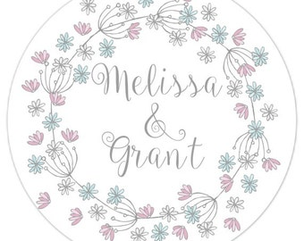 Custom Wedding Stickers, Bridal Shower Labels, Simple Wreath, Personalized for YOU