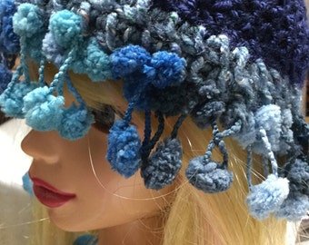 Toddlers Royal Blue Cap/Bonnet/Cloche/Hat/Accessory With Pom Pom Trimming