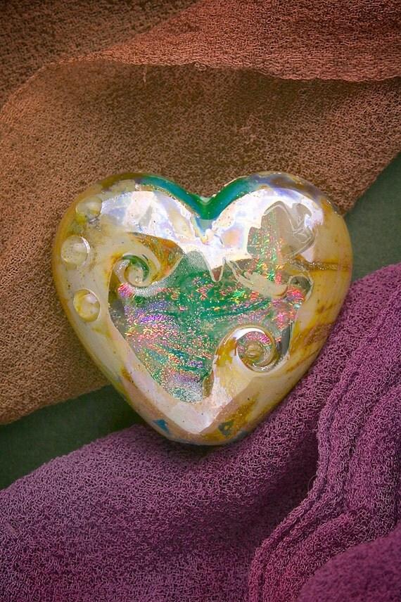 "SRA Lampwork Beads ""Dichroic Woodland Heart"" Handmade Sandblasted Glass Bead Fine Silver Lustre"