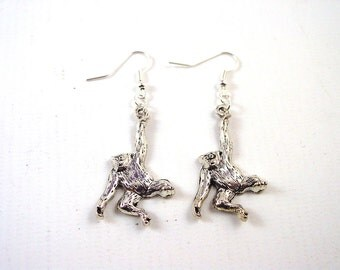 Monkey Earrings - Chimpanzee Earrings - Gorilla Earrings - Animal Earrings