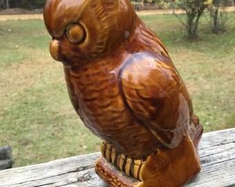 Vintage Large Owl Planter Vase--Brown Ceramic Succulent Planter--Retro Cottage Chic