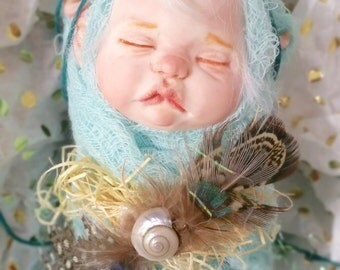 One of a kind Teal baby blue fairy/pixie with pale skin and white hair OOAK
