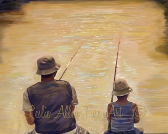 "Father Art Father Son Art Print Dad Son Big Brother Daddy Boy Family Fathers Day ""BEAUTIFUL MORNING FISHING"" Leslie Allen Fine Art"