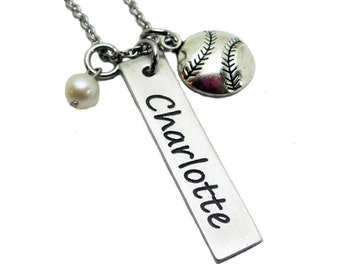 Name and Softball Charm Necklace - Hand Stamped Pewter