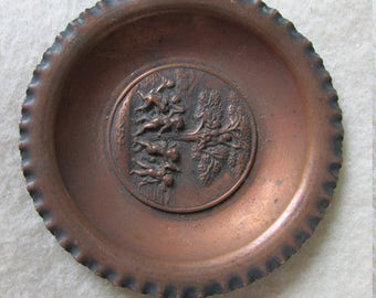 Antique Miniature Copper Tray with Cherub Angels