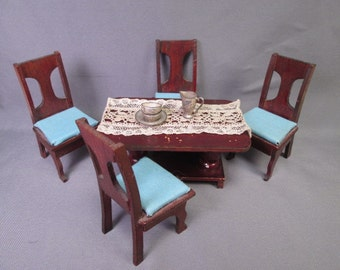 """Antique German Dollhouse Furniture - Parlor Table and Four Chairs -  1"""" Scale"""