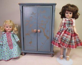 Vintage Doll Furniture -  Keystone Blue Oriental Style Doll Wardrobe - 1/6 Play Scale For Small Dolls - 1950's